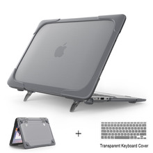 New Shockproof Hard Plastic Case with Foldable Stand For Macbook Air 11 13 For Mac Book 12 inch + keyboard cover(China)