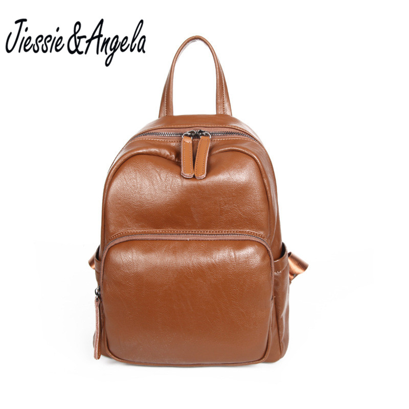 Jiessie &amp; Angela New Brand Design Backpacks Vintage Style Femal Leather Backpack Teenage Girls School Bag Travel Shoulder Bags<br>