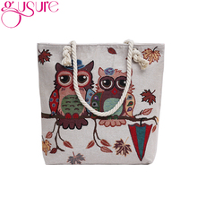 Gusure Vintage Owl Printed Bags for Women Leaves Umbrella Printing Canvas Casual Bag Big Shoulder Bag for Shopping Travel Gifts