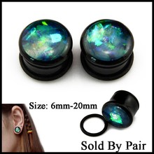 Pair Acrylic Single Flared Ear Tunnel Flesh Plug With O Ring Bling Glitter Crystal Ear Expander Stretcher Piercing Body Jewelry(China)