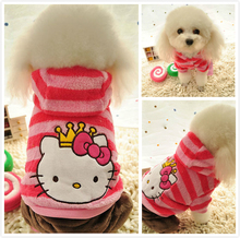 Winter Hello Kitty Dog Clothes fleece jumpsuit Pink dog striped hoodie coat jumpers Pet costume for small Medium dogs girls XS-L(China)