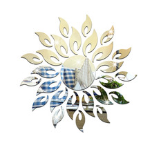 40*40cm mirror acrylic sun flower!mirror effect ring wall stickers design 3d interior home decoration direct selling