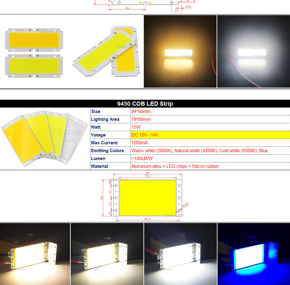 COB LED Strip Light Lamp Bulb 10W 20W 30W 50W Warm Natural Cold White Blue Red Chip On Board LED Matrix Lighting 1-50W (5)