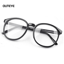 OUTEYE Women Vintage Glasses Frame Plain Mirror Harajuku Round Optical Frame Girl Eyeglass Clear Lens Oculos Feminino de Grau 15(China)