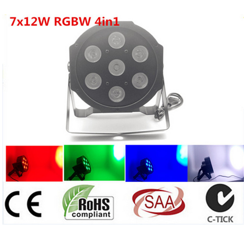 2017 7x 12W RGBW DMX Stage Lights Business Lights Led Flat Par High Power Light with Professional for Party KTV Disco DJ<br>