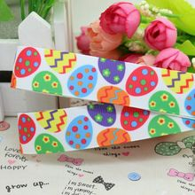 7/8'' Free shipping Easter egg printed grosgrain ribbon hairbow diy party decoration wholesale OEM 22mm P2031