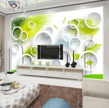 Home Decor Custom Mural 3D Green Tree Circle Wallpapers ,Modern Wall Painting Living Room Background  European  Photo Mural
