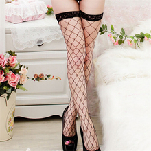 New Fashion Sexy Women Grid Stocking Lace high Stocking Role X Sexy Lingerie Cosplay Women Accessories Wholesale 7767(China)