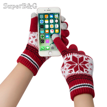 Cute Christmas Warm Winter Gloves Snowflake Printed Knitted Touch Gloves Men Women Gloves Touch Screen Glove Party Supplies(China)