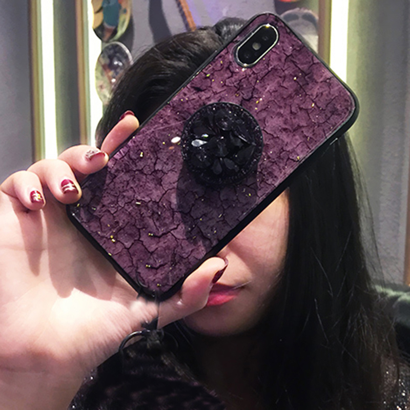 Luxury Diamond Marble Glitter silicon phone case for iphone 7 8 6 6s plus X XR XS MAX holder ring Cover For Samsung S8 S9 Note 9 (5)