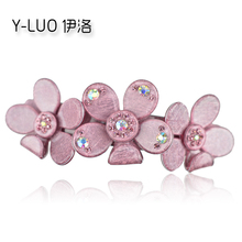Women Hair Accessories 2017 Rhinestone Hair Clip Daisy Flower Barrette Floral Ponytail Holder Perfect Gift For Women(China)