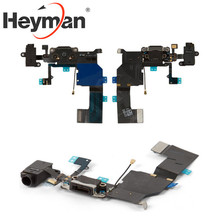Heyman Flat Cable for Apple iPhone 5C (headphone connector, charge connector, black, with components, with microphone)(China)