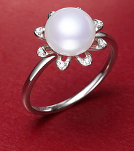 DYY+++430 Flower Fang 9.5-10mm full bead genuine freshwater pearl ring(China)