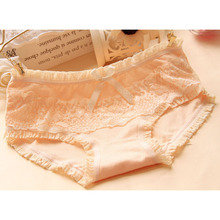 Buy [Quecoo] 2016 Girl Series cotton candy color low-waist lace underwear women XL sexy underwear cute bow women's Panties