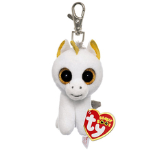 "Ty Beanie Boos Pegasus the Unicorn Clip 3"" Keychain Plush Stuffed Animal Collectible Doll Toy"