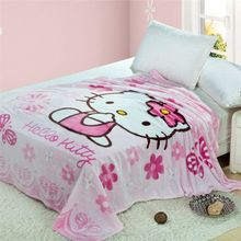 Light pink Hello Kitty Floral Blanket Throw Bedding 150*200CM Size Baby Kid Girls Children's Bed Home Bedroom Decoration Flannel