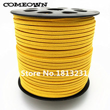COMEOWN 100Yards 3x1.5mm Flat Faux Suede Korean Velvet Leather Cord String Rope Lace Beading Thread Jewelry Findings 32 Colors(China)