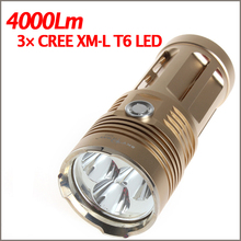 Super Bright !Skyray King 3 X CREE XM-L T6 LED Flashlight waterproof 4000Lm LED Torch light 18650 rechargeable battery