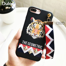 DULCII Rivet Case for iPhone 6s 6 Plus Phone Soft Silicone Phone Cover Wrist Strap for iPhone6s iPhone6 Capa Tiger Wolf Bunny