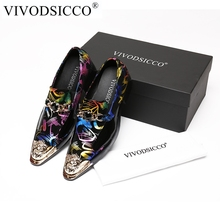 VIVODSICCO Luxury Classic Genuine Leather Metal Tip Slippers Flats Banquet Wedding Mens Dress Shoes Patent Leather Printing Shoe(China)