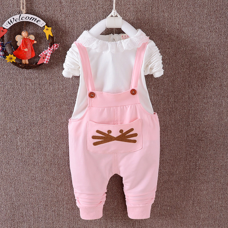 Baby girl clothes spring /autumn style girls sets cartoon T-shirt + suspenders trousers<br><br>Aliexpress