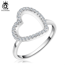 ORSA JEWELS Lead & Nickel Free Heart Shaped Silver Color Ring with Micro Paved AAA Cubic Zirconia Love Ring for Wife OR75