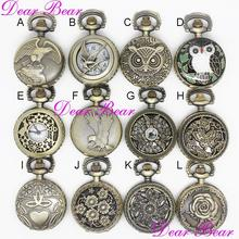 (APW014)Steampunk Owl Eagle Butterfly Flower Pocket Watch Necklace, 12pcs/lot, free ship, 2.7cm,(China)