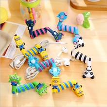 4Pcs Cartoon Cable Winder Wire Cord Organizer Protector Management Holder Cable Clip For Earphone Charging USB Data Line PC(China)