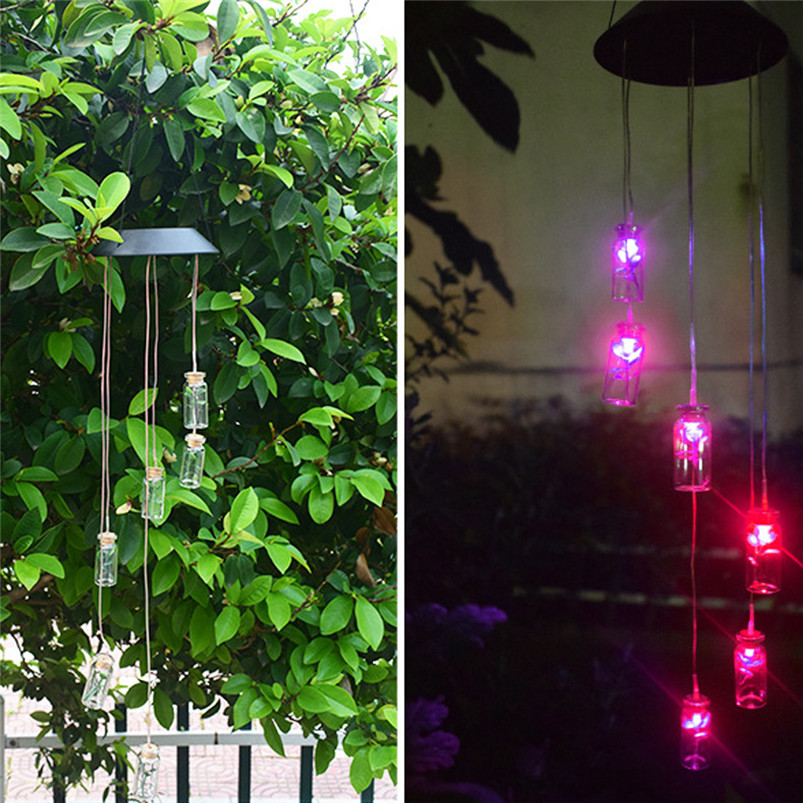 Solar Color-Changing Wind Chime Light LED Garden Hanging Spinner Lamp Color Changing Wind Chime Light Luces 40JUN259
