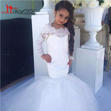 2017 White Ivory Lace Long Sleeve Mermaid Flower Girl Dresses For Weddings Cheap Jewel Long Modest Garden Country Wedding Gowns