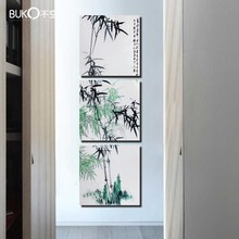 3 Pcs / set Artist Canvas Still Life Bamboo From painting and forms of vertical Picture Canvas Prints Pictures Wall to Lounge