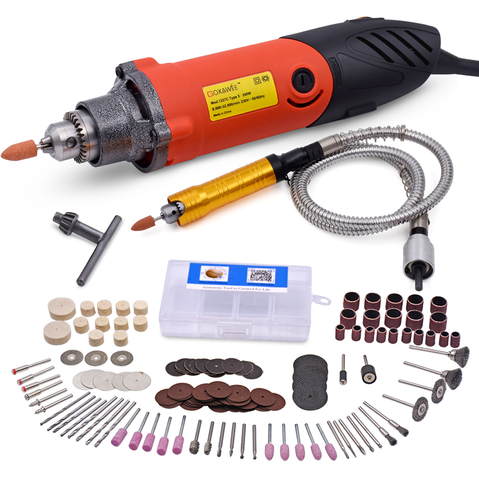 220V 240W Electric Drill Variable Speed Rotary Tool Mini Drill with Flex Shaft 6mm Handpiece Power Tools Accessories<br>