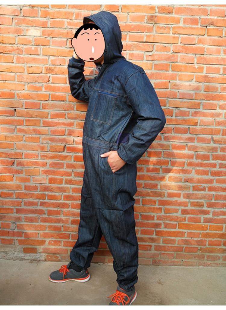 Men Work Clothing Long Sleeve Denim Coverall High Quality Wear resistance Overalls Repairman Machine Auto Repair Working uniform (2)