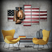 5 Pcs/Set Framed HD Printed Boxing Pride Flag Picture Abstract Oil Painting On Canvas Framed Asian Wall Art Posters For Kid Home