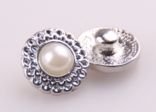 New arrive Free shipping Mini 1.2cm pearl alloy charm DIY snap button metal charms