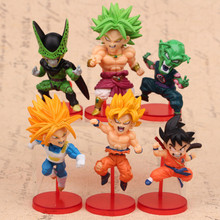 6pcs/set Dragon Ball Super Saiyan Cell Broli Piccolo Son Goku Vegeta Action Figure Toys Collection Model Doll