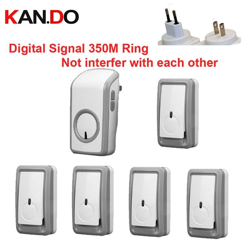Euro/US plug bell kits  5 emitters+1 receiver wireless doorbell Waterproof 380 Meter door chime door ring digital signal ring<br>