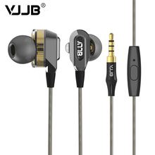 100% Original VJJB V1 V1S Double Unit Drive In Ear Metal Earphones HIFI Bass Subwoofer Earphone With Mic Optional Free Shipping