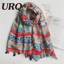 1PCS Tassels Scarf for Woman print colorful Chinese style Flower Tassels Shawls hijab Sping and summer Women Long 2017 new brand