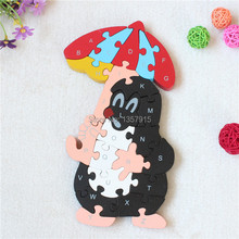 Eco-friendly yakuchinone MICKEY MOUSE puzzle toys wool baby toy intelligence puzzle digital 26 letter