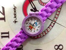 100pcs/lot Cartoon Silicone Band Quartz Watch  Fashion Hello Kitty  Kids  Girl's Boy's Watch Fast Delivery Hot Sale