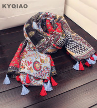 KYQIAO Ethnic scarf mori girls Japanese style fresh design long print patchwork tassels scarf muffler cape shawl birthday gifts