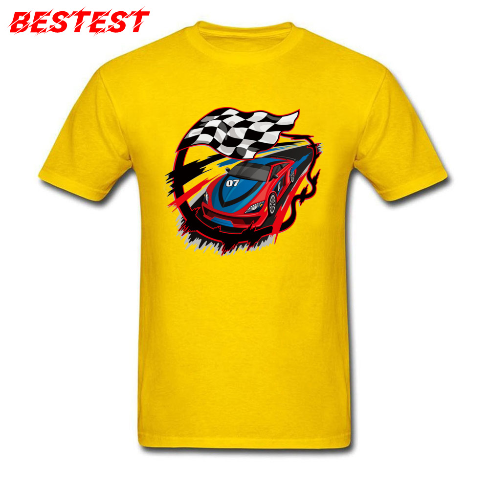 2018 auto racing checkered flag Short Sleeve T-shirts Labor Day Round Neck Cotton Fabric Tops Shirt for Men Tops Shirts Birthday auto racing checkered flag yellow