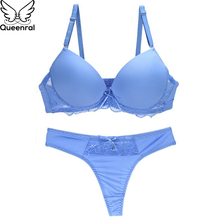 Buy Queenral Solid Color Underwear Set Women Lingerie Thong Bra Brief Sets Push BC Cup Cotton Brassiere String Suit Intimates