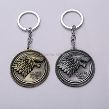 1Pcs Golden Silver Metal Game of Thrones Stark Badge Hot Movie Key Chain Ring Model Anime Figure Toy Fashion Christmas Gift