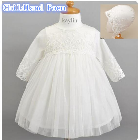 Newborn Baby Girls Dress Long Sleeve Princess Baby Baptism Christening Gown Dress White Lace Wedding Party 1 Year Birthday Dress<br>