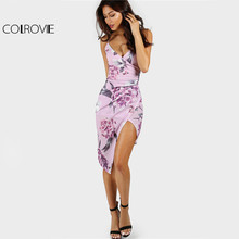 Buy COLROVIE Floral Slip Club Dress Ruched Bodycon 2017 Women Asymmetrical Overlap Summer Dresses Lavender Sexy Beach Party Dress for $15.98 in AliExpress store