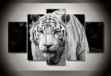 Hot selling 5 panel grey color tiger oil paintings new house luxurious wall hanging canvas arts unframed animal painting(China)