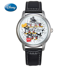 2017 Original Disney Children Mickey Mouse Cartoon Watch Best Fashion Casual Simple Digital Style Quartz Round Leather Watch(China)