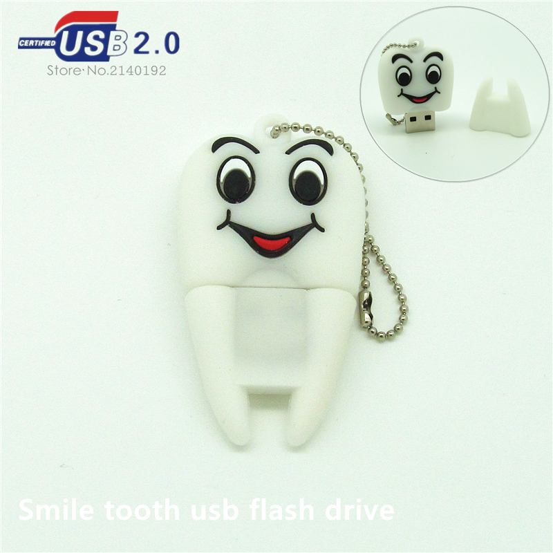 new design smile tooth Pen drive 4g 8g 16g 32g real capacity usb flash drive memory stick storage device metal chain(China (Mainland))